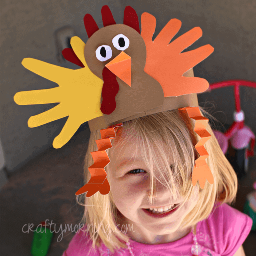 hand print turkey hat