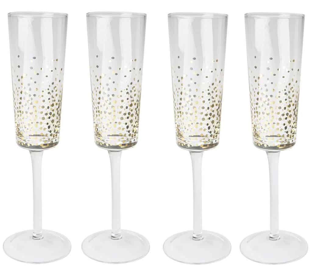 Golden dot Champagne flutes