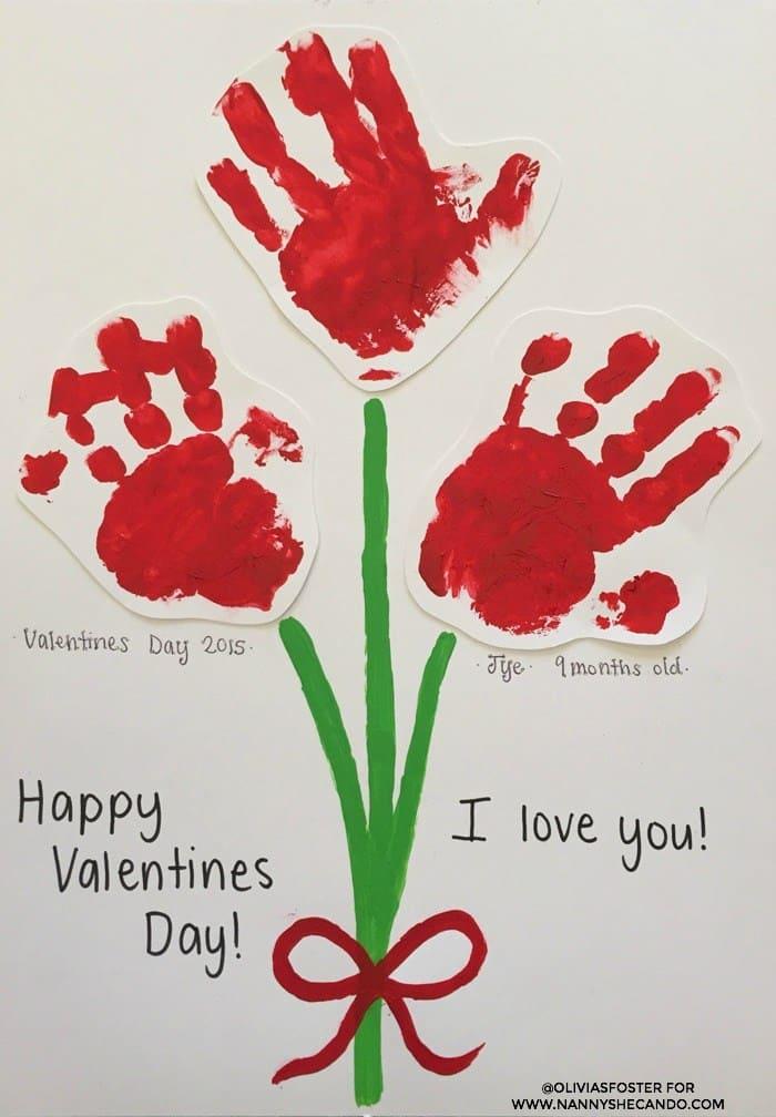 Handprint valentines flowers