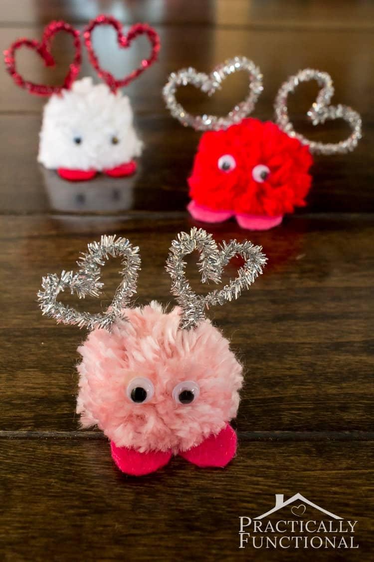 Valentines day pom pom monsters