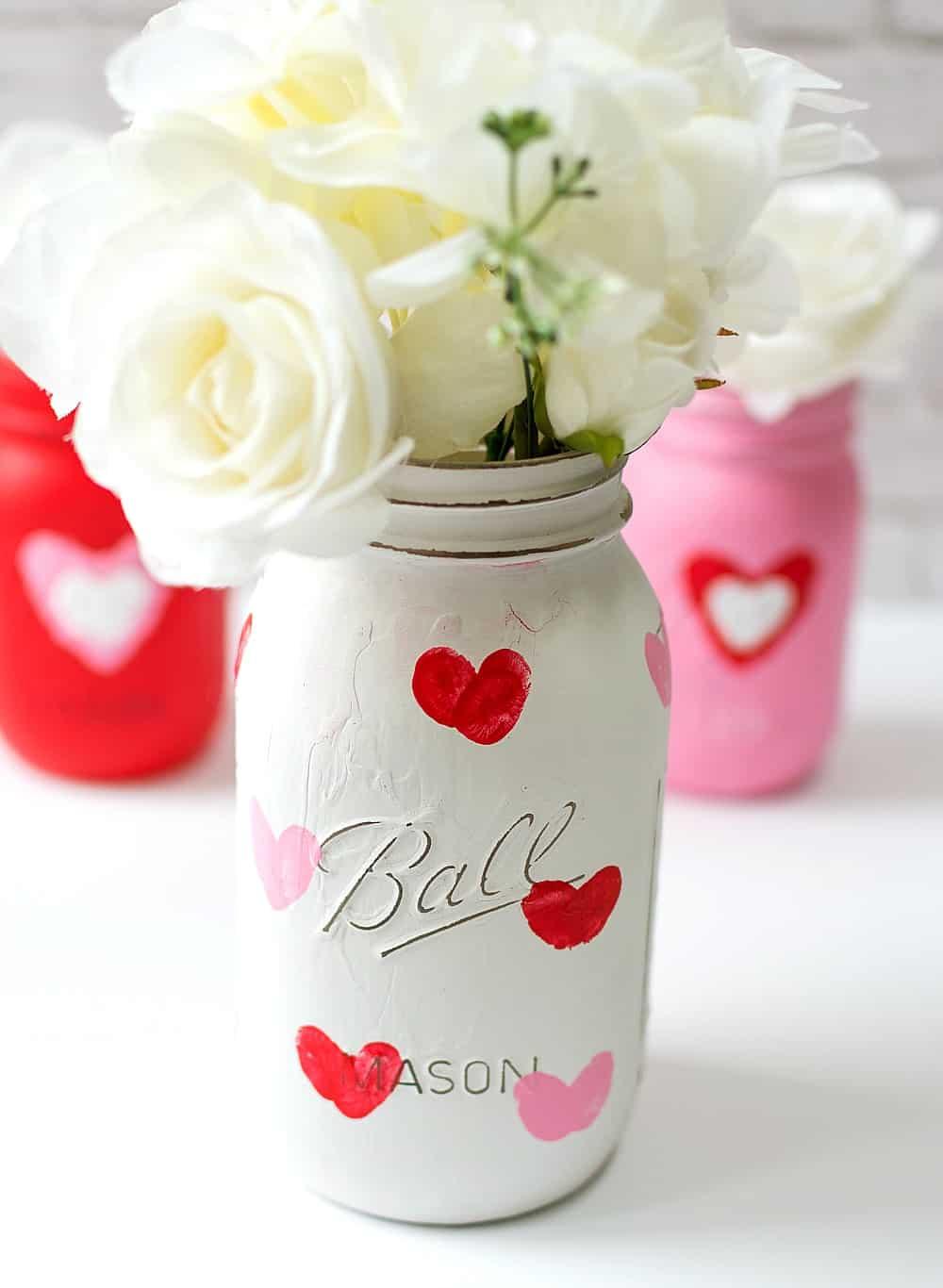 Valentine-Kid-Craft-Idea-Thumbprint-Heart-Mason-Jar-Vases