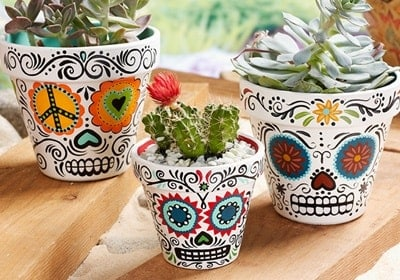 sugar skull clay pot