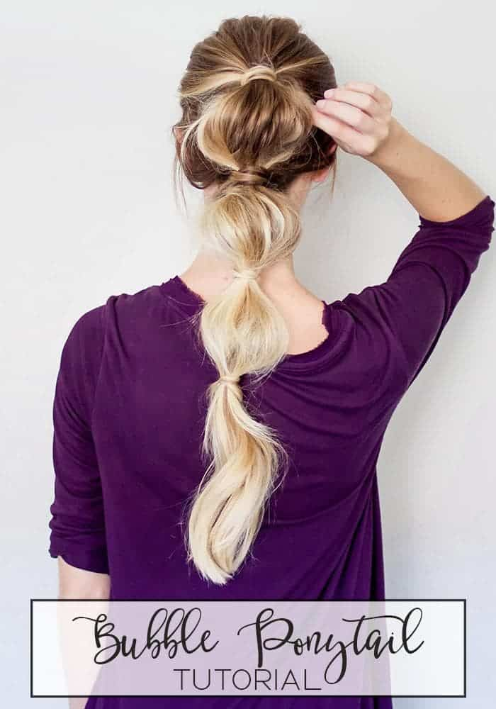 Easy Bubble Ponytail Hairstyle