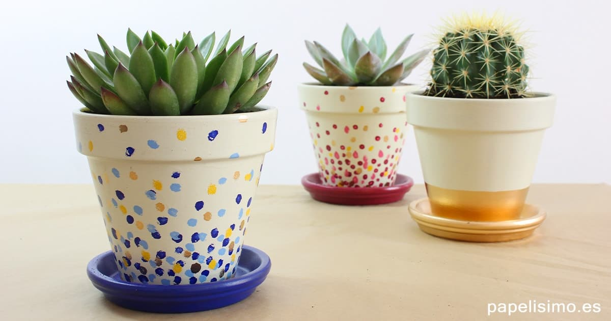 painted dot clay pots