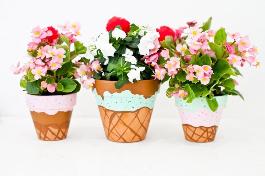 IceCreamFlowerPot, paint clay pots